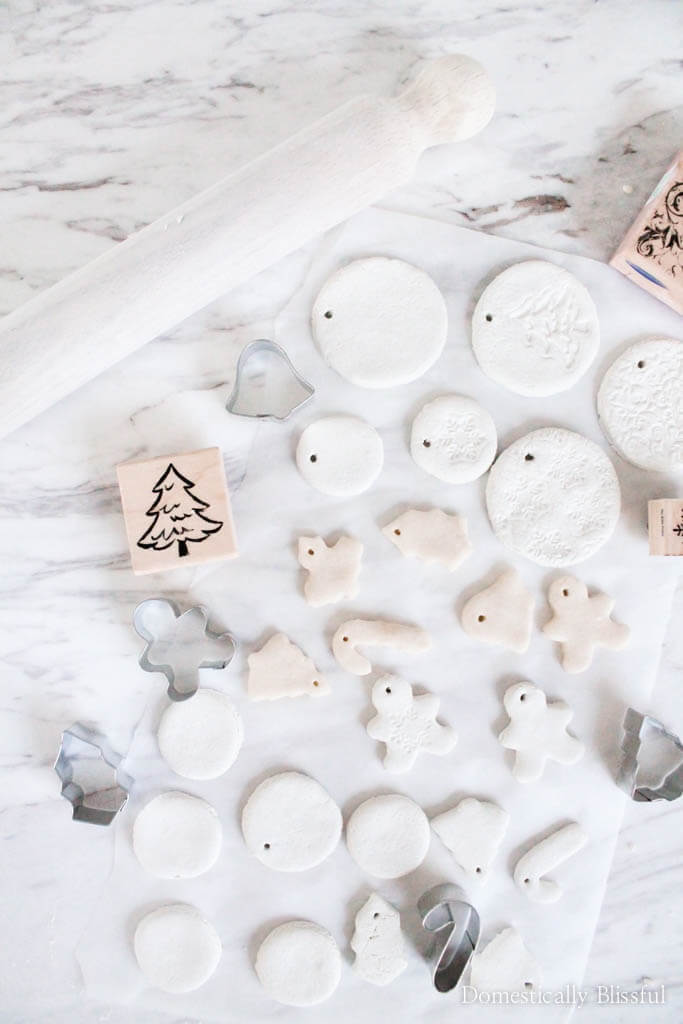 modern white Christmas ornaments from dough